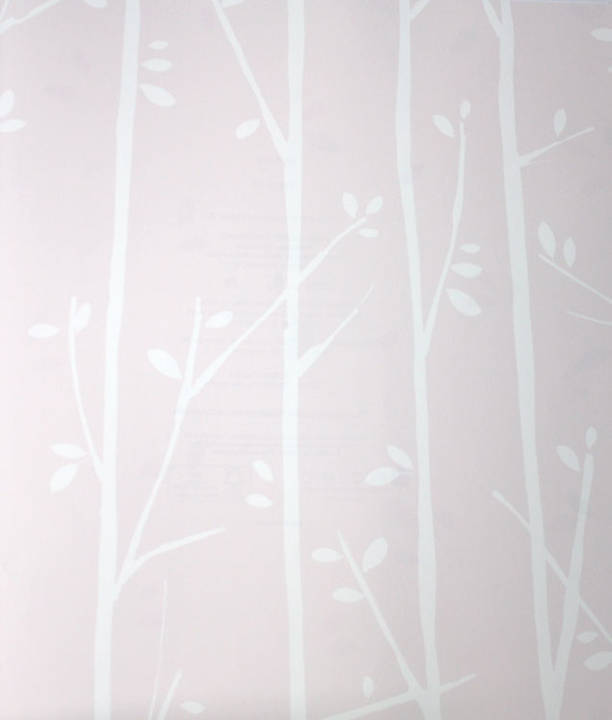 Twiggy White on Cotton Candy Pink Kids Wallpaper