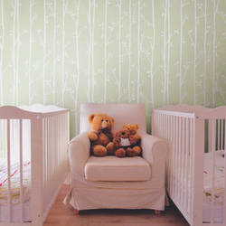 Twiggy White on Mint Green Kids Wallpaper