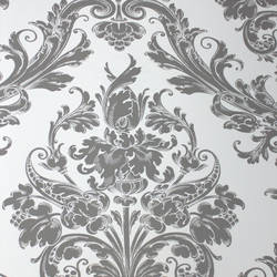 Damask Princess Ash Grey on White Kids Wallpaper
