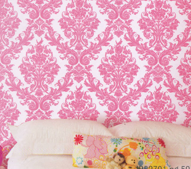 Damask Princess Ultra Pink Kids Wallpaper