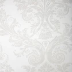 Damask Princess Beige on White Kids Wallpaper