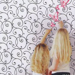 Swirls and Curls Black on White Kids Wallpaper