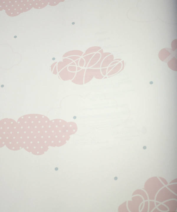 Doodle Clouds Pink Petal Kids Wallpaper