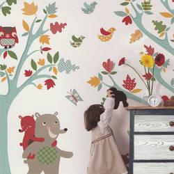 Forest Friends Brights Kids Wallpaper
