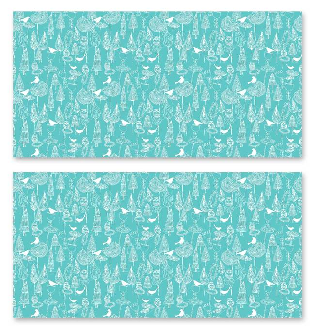 Birds and Trees, Cyan - Jessica Swift Wallpaper Tiles