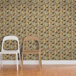 Red Riding Bird, Neutral - Jessica Swift Wallpaper Tiles