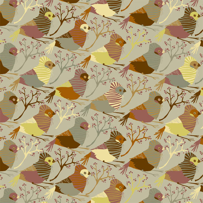 Red Riding Bird, Neutral - Jessica Swift Wallpaper Tiles