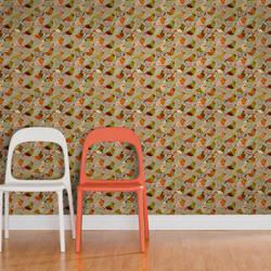 Red Riding Bird, Crimson - Jessica Swift Wallpaper Tiles