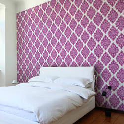 French Garden Damask, Plum - Wallpaper Tiles
