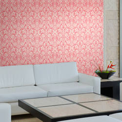 Brocade Bloom Damask, Carnation - Wallpaper Tiles