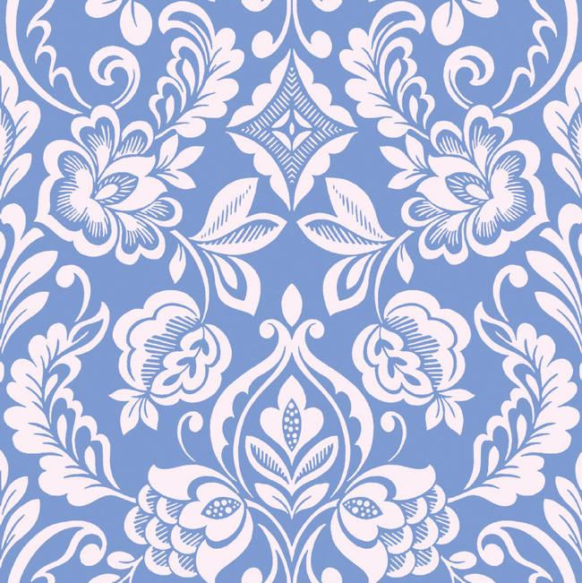 Brocade Bloom Damask, Periwinkle - Wallpaper Tiles