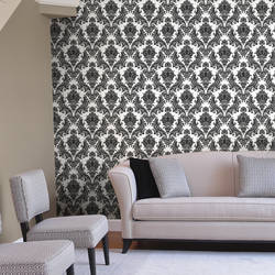 Heirloom Damask, Charcoal - Wallpaper Tiles