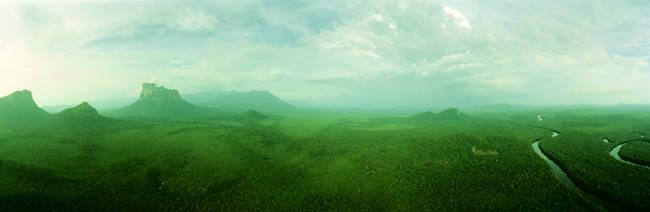 Aerial View Of Green Misty Landscape, Autana Tepuy, Venezuela