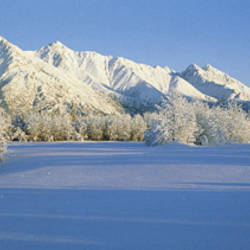 Chugach Mountains In Winter, Alaska, USA