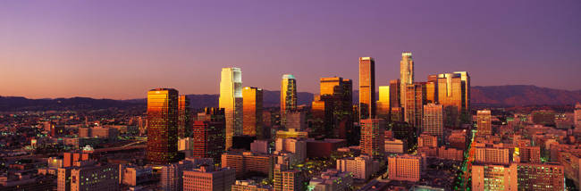 Skyline At Sunset, Los Angeles, California, USA