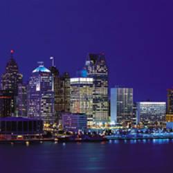 USA, Michigan, Detroit, night
