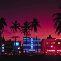 Hotels Illuminated At Night, South Beach Miami, Florida, USA