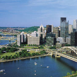 Daytime Skyline With The Delaware River, Pittsburgh, Pennsylvania, USA