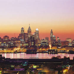 Arial View Of The City At Twilight, Philadelphia, Pennsylvania, USA