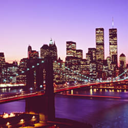 USA, New York City, Brooklyn Bridge, twilight