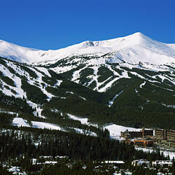 Ski resorts in front of a mountain range, Breckenridge, Summit County, Colorado, USA