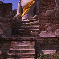 Statue Of Buddha In A Temple, Ayuthaya, Bangkok, Thailand