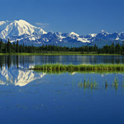 Reflection Of Mountains In Lake, Mt Foraker And Mt Mckinley, Denali National Park, Alaska, USA