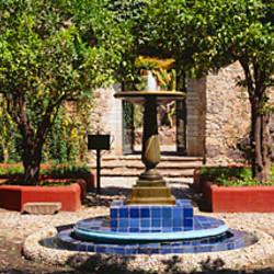 Fountain in a garden, Exterior Hacienda San Gabriel De Barrera, Guanajuato, Guanajuato State, Mexico