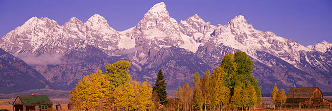 Snowcapped mountain range on a landscape, Teton Range, Grand Teton National Park, Wyoming, USA