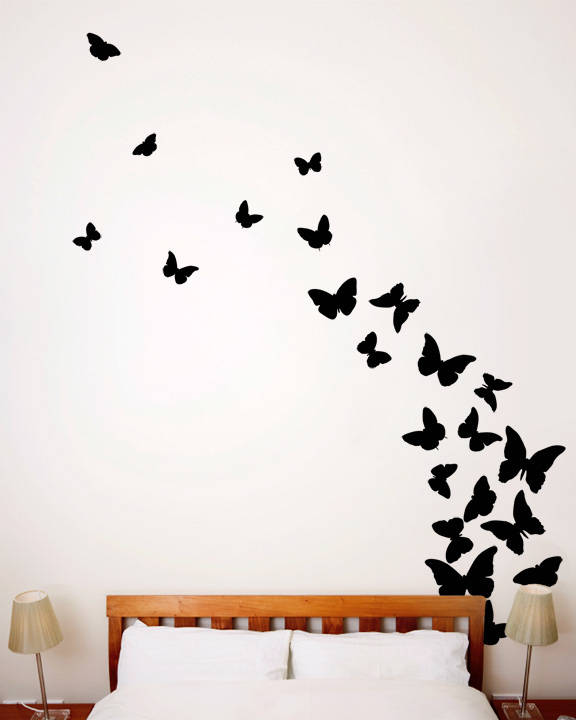 Butterflies Midnight - Wall Decal  sc 1 st  DesignYourWall : wall decal cheap - www.pureclipart.com