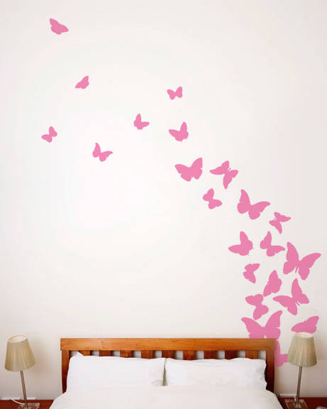 Butterflies Pink Ribbon Wall Decal