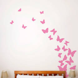 Butterflies, Pink Ribbon - Wall Decal