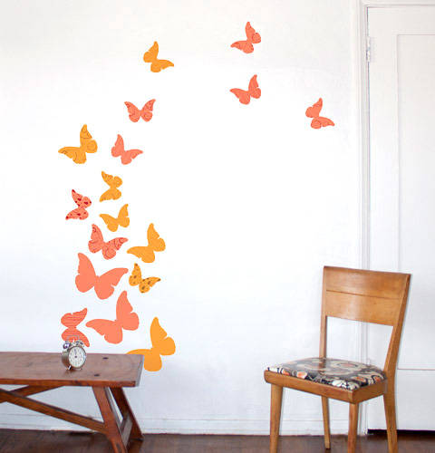 Butterflies, Summer Peach - Wall Decal