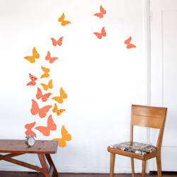 butterflies summer peach wall decal - Design Wall Decal