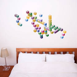 Hue Cubes - Buildable Wall Decal