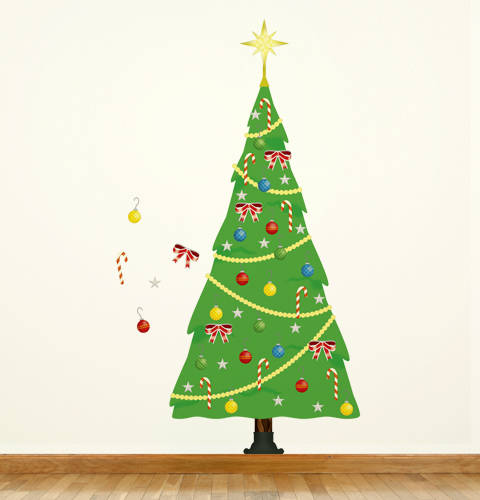 Playful Christmas Tree - Christmas Wall Decals