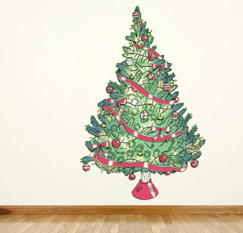 vintage christmas tree christmas wall decal double tap to zoom - Vintage Christmas Wall Decor