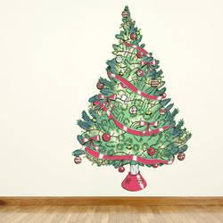 Vintage Christmas Tree - Christmas Wall Decal