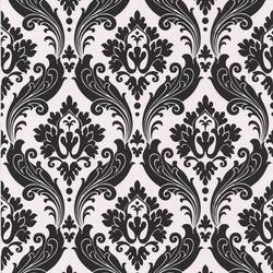 Vintage Flock: Pearl / Black Wallpaper