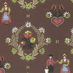 Farmers on Brown Country Vintage Wallpaper: ARW052