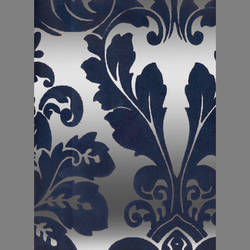 Blue Velvet Leaf Damask on Silver Mylar