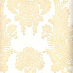 Beige Velvet Heirloom Damask on White