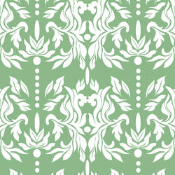 Green and White Damask