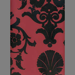 Black & Peanut Red Medallion Damask velvet flocked wallpaper: VCC0801