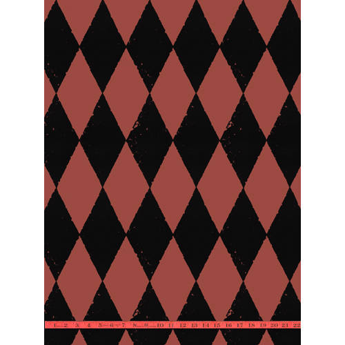 Black Velvet Harlequin on Peanut Red