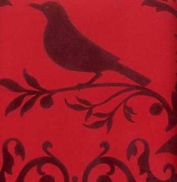Burgundy Velvet Deer & Bird Damask on Red