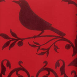 Burgundy Velvet Deer & Bird Damask on Red