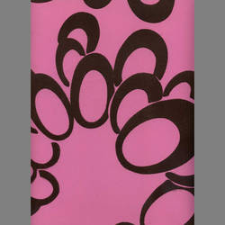 Brown Velvet Geometric Circles on Pink