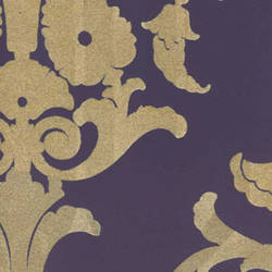Tan & Purple Medallion Damask velvet flock wallcovering: VCC0814