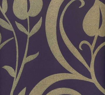 Beige Velvet Heart Leaf Damask on Purple